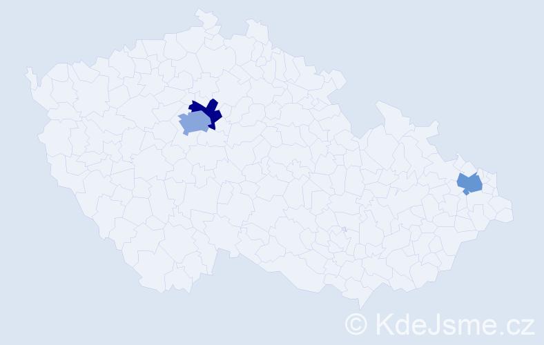Příjmení: 'Dankovčík', počet výskytů 4 v celé ČR