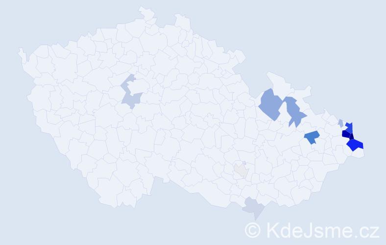 Příjmení: 'Chlebiková', počet výskytů 54 v celé ČR