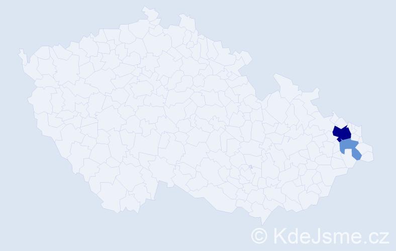 Příjmení: 'Čežák', počet výskytů 7 v celé ČR
