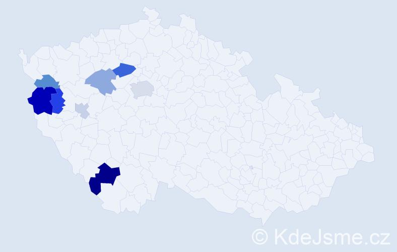 Příjmení: 'Hliboký', počet výskytů 15 v celé ČR