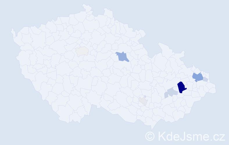 Příjmení: 'Honyš', počet výskytů 21 v celé ČR