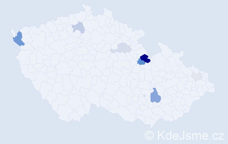 Příjmení: 'Labudíková', počet výskytů 15 v celé ČR
