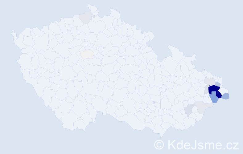 Příjmení: 'Gongolová', počet výskytů 66 v celé ČR