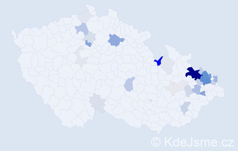 Příjmení: 'Laryšová', počet výskytů 124 v celé ČR