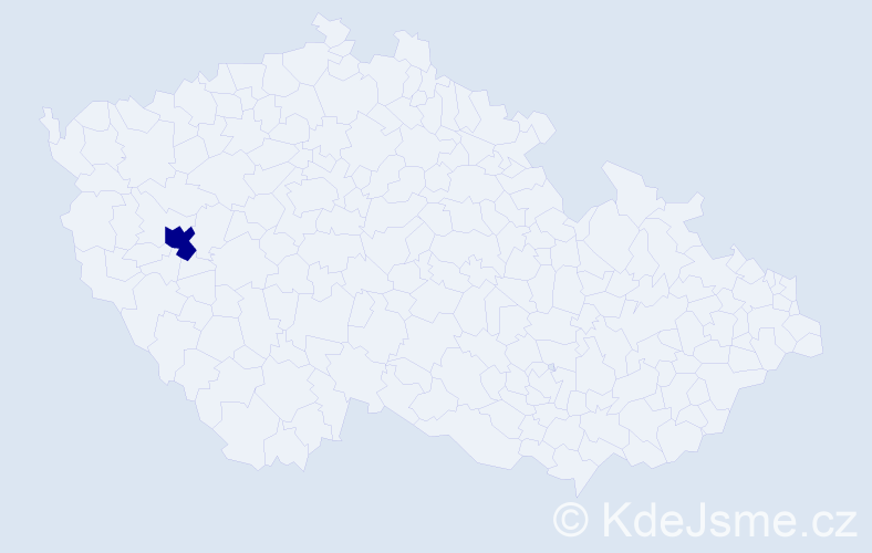 """Příjmení: '""""De Frutosová""""', počet výskytů 1 v celé ČR"""