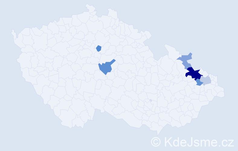 Příjmení: 'Gasiorková', počet výskytů 15 v celé ČR