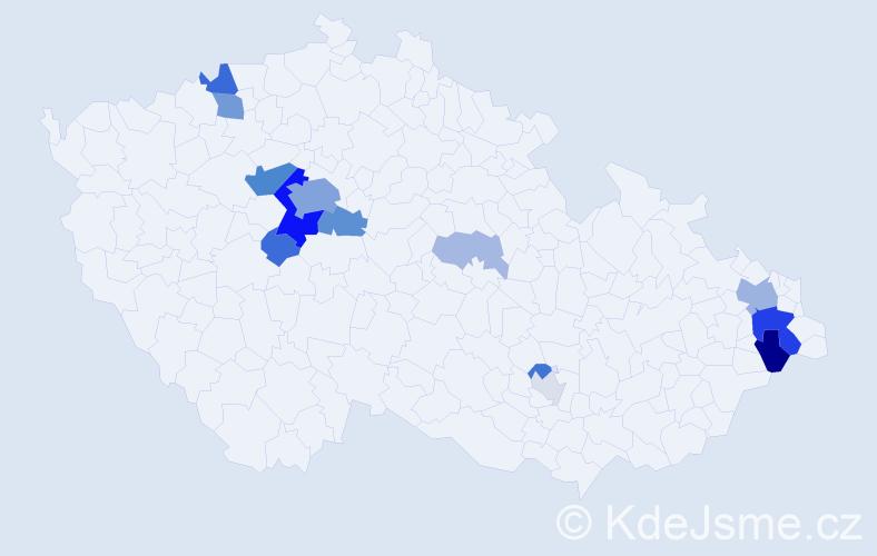 Příjmení: 'Kimla', počet výskytů 45 v celé ČR