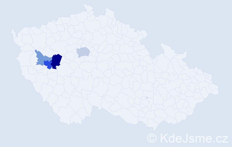 Příjmení: 'Častorál', počet výskytů 13 v celé ČR