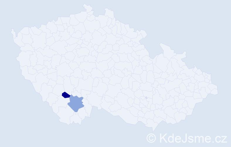 Příjmení: 'Laibrt', počet výskytů 3 v celé ČR