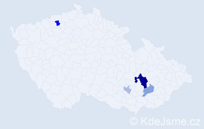 Příjmení: 'Lakoštíková', počet výskytů 9 v celé ČR