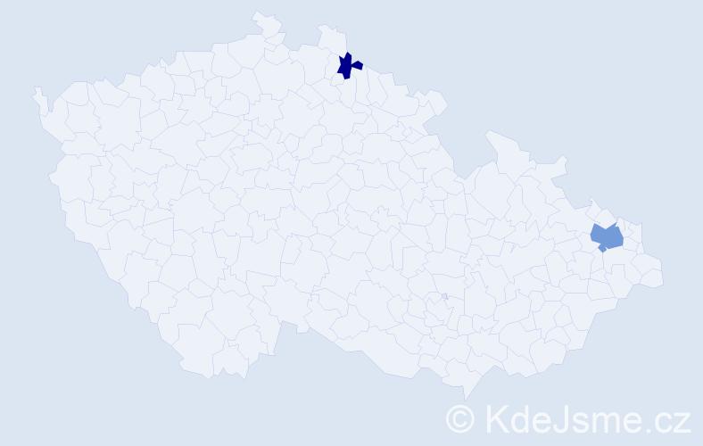 Příjmení: 'Chlopaň', počet výskytů 4 v celé ČR