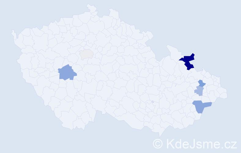 Příjmení: 'Chvístek', počet výskytů 13 v celé ČR