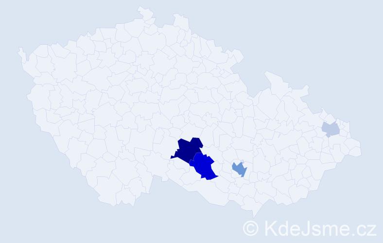 Příjmení: 'Frencová', počet výskytů 12 v celé ČR