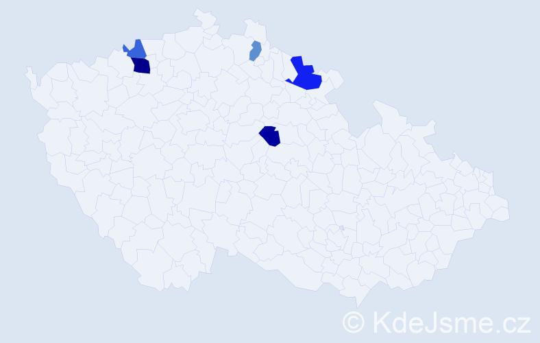 Příjmení: 'Bolkovcová', počet výskytů 8 v celé ČR