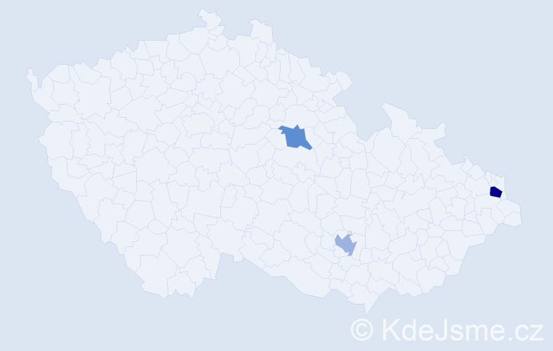Příjmení: 'Csehová', počet výskytů 4 v celé ČR