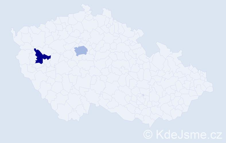 Příjmení: 'Bosáčková', počet výskytů 6 v celé ČR
