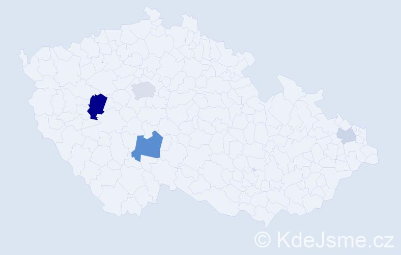 Příjmení: 'Kantár', počet výskytů 8 v celé ČR