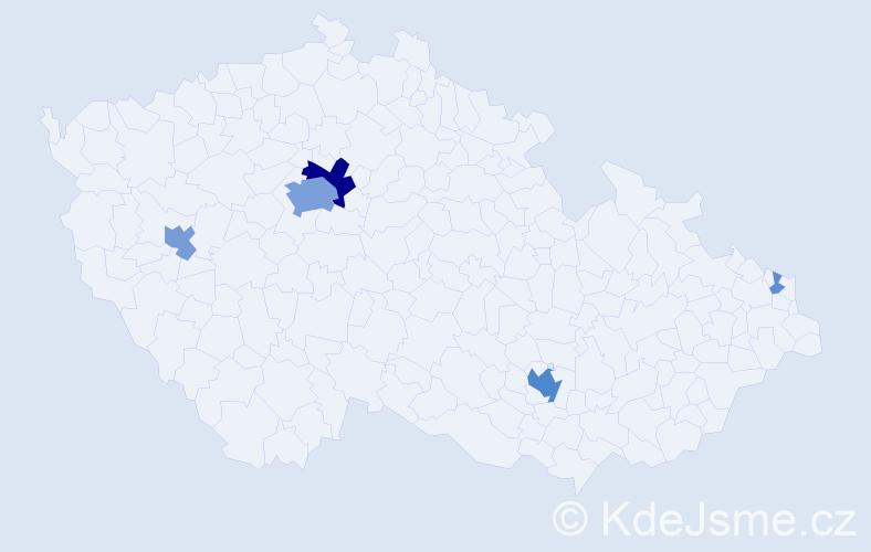 Příjmení: 'Levi', počet výskytů 23 v celé ČR