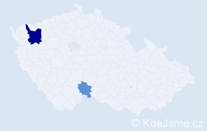 Příjmení: 'Hudy', počet výskytů 6 v celé ČR