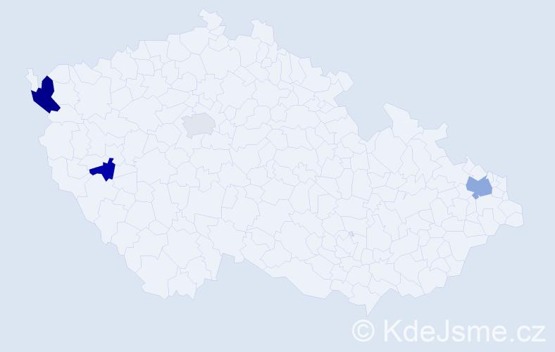Příjmení: 'Kabatová', počet výskytů 13 v celé ČR