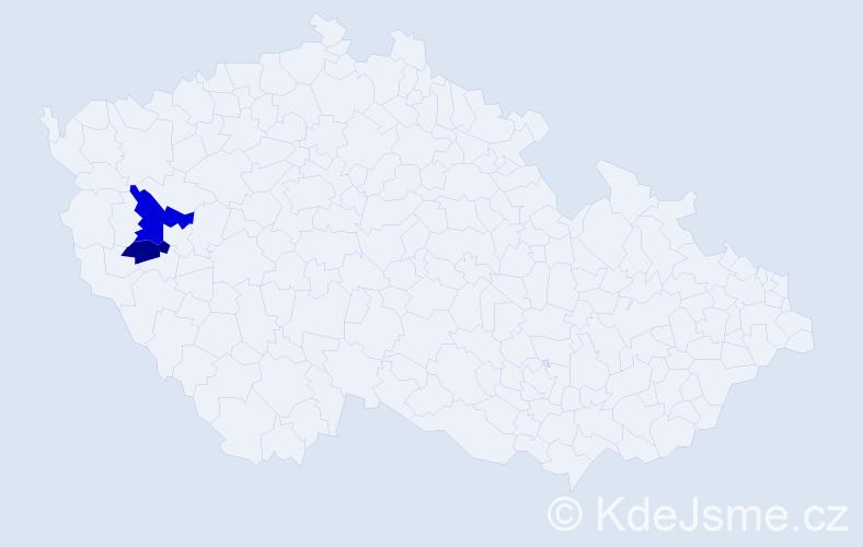 Příjmení: 'Hűblerová', počet výskytů 3 v celé ČR
