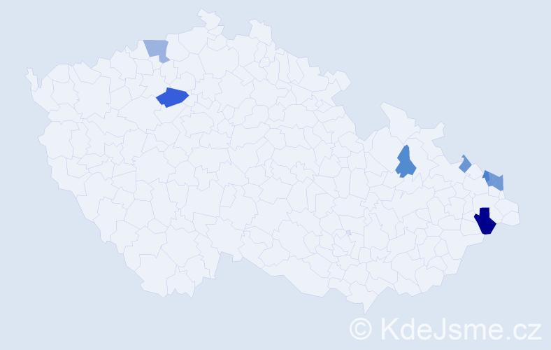 Příjmení: 'Grzonka', počet výskytů 17 v celé ČR
