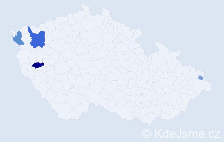 Příjmení: 'Jachymová', počet výskytů 5 v celé ČR