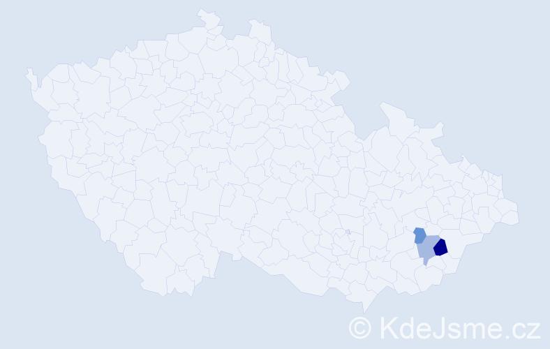 Příjmení: 'Dupala', počet výskytů 9 v celé ČR