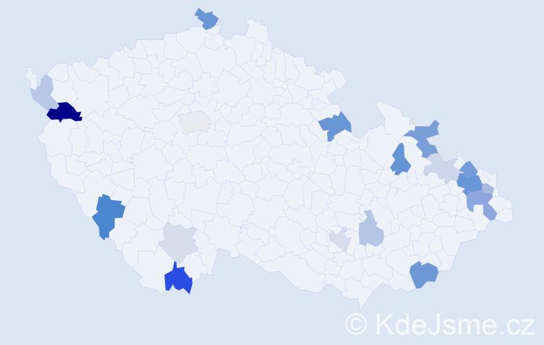 Příjmení: 'Chmura', počet výskytů 45 v celé ČR