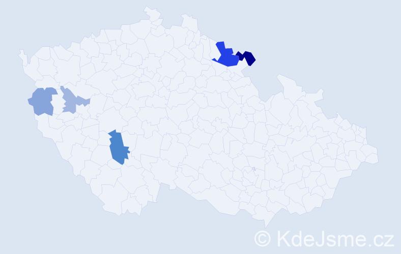 Příjmení: 'Holča', počet výskytů 12 v celé ČR