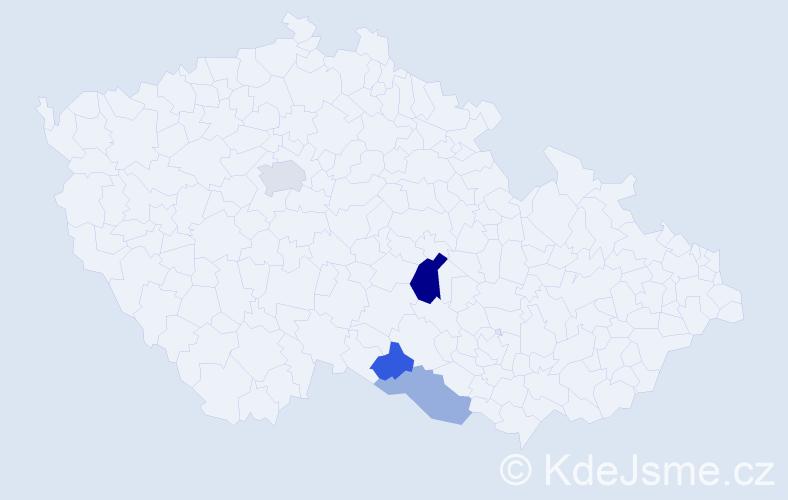 Příjmení: 'Čahák', počet výskytů 7 v celé ČR