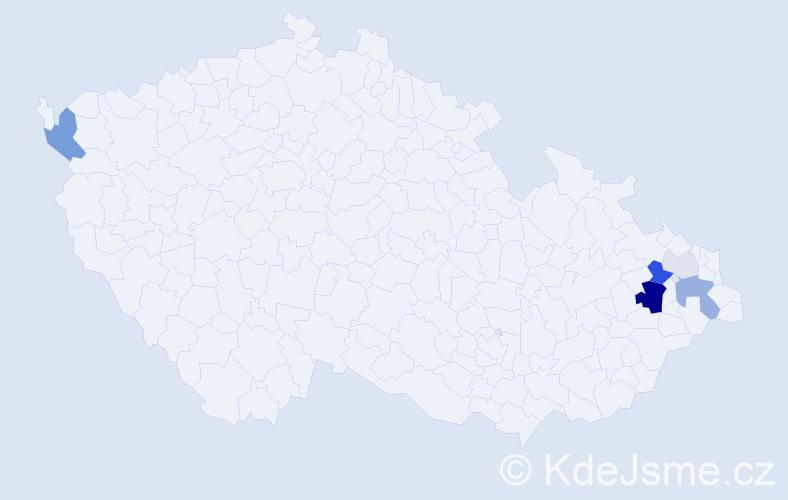 Příjmení: 'Hyplová', počet výskytů 13 v celé ČR