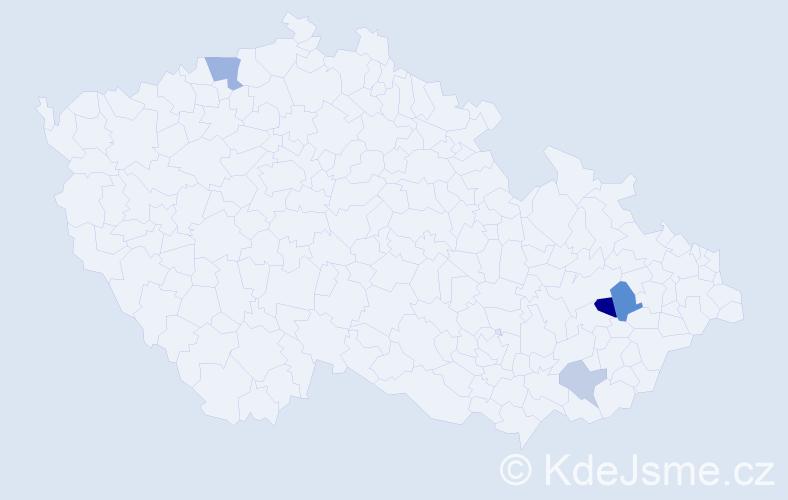 Příjmení: 'Čmoch', počet výskytů 7 v celé ČR