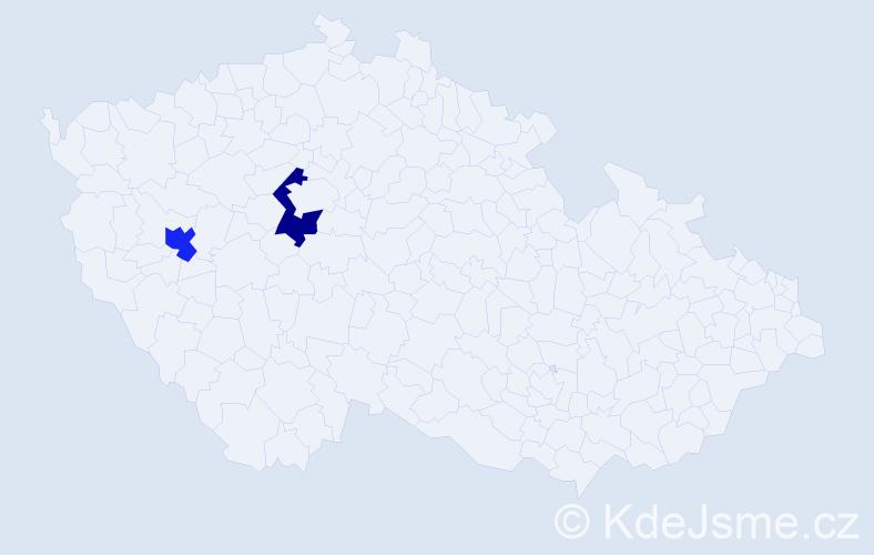 Příjmení: 'Jasmine', počet výskytů 2 v celé ČR