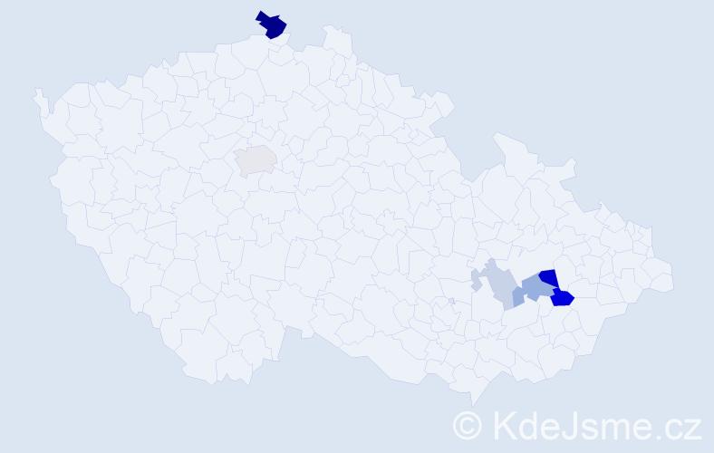 Příjmení: 'Bortník', počet výskytů 14 v celé ČR