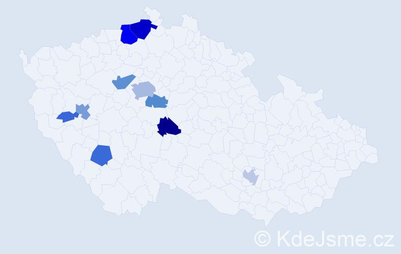 Příjmení: 'Glückselig', počet výskytů 34 v celé ČR