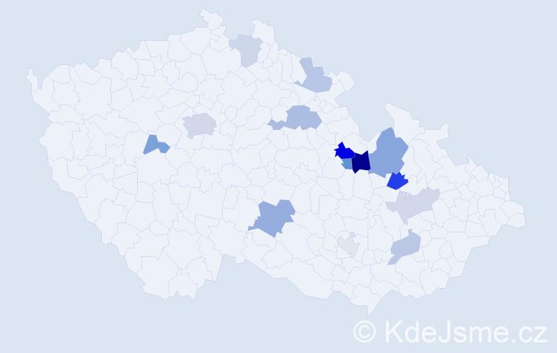 Příjmení: 'Chlebníčková', počet výskytů 28 v celé ČR