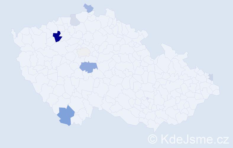 Příjmení: 'Kaczová', počet výskytů 13 v celé ČR