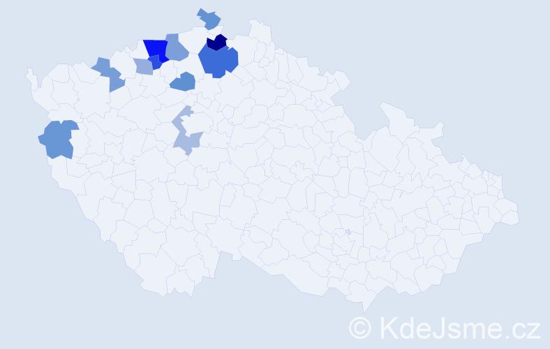 Příjmení: 'Habenicht', počet výskytů 19 v celé ČR
