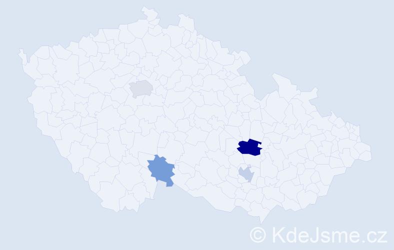 Příjmení: 'Člupková', počet výskytů 16 v celé ČR