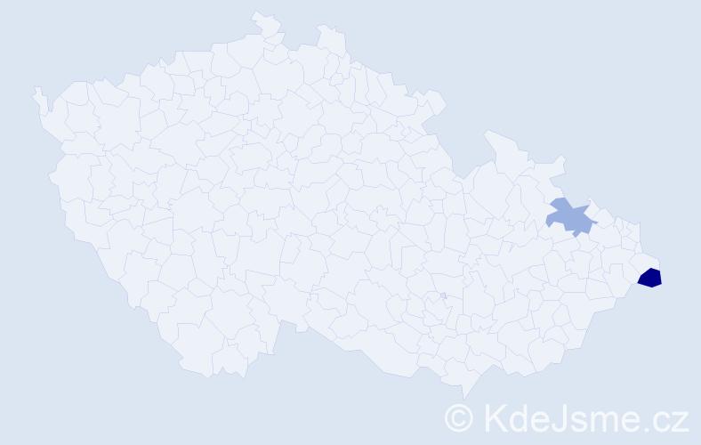 Příjmení: 'Dworzaková', počet výskytů 5 v celé ČR