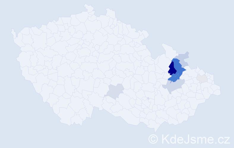 Příjmení: 'Indrei', počet výskytů 17 v celé ČR