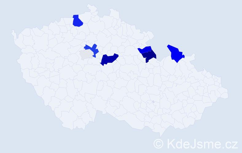 Příjmení: 'Klabzubová', počet výskytů 17 v celé ČR