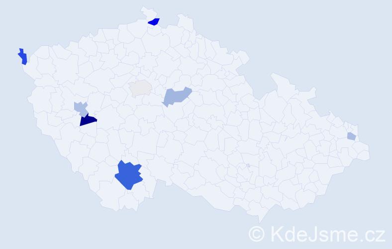 Příjmení: 'Homanová', počet výskytů 27 v celé ČR
