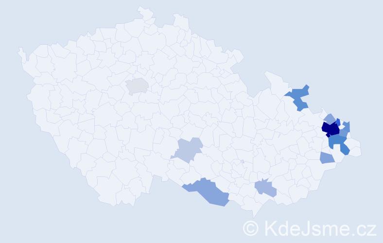 Příjmení: 'Basta', počet výskytů 47 v celé ČR