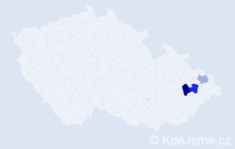 Příjmení: 'Blaške', počet výskytů 6 v celé ČR