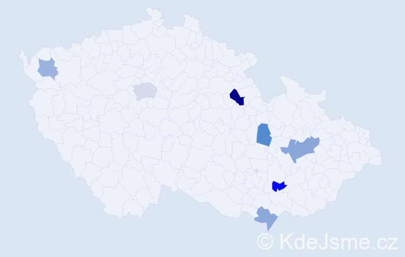 Příjmení: 'Csontosová', počet výskytů 11 v celé ČR