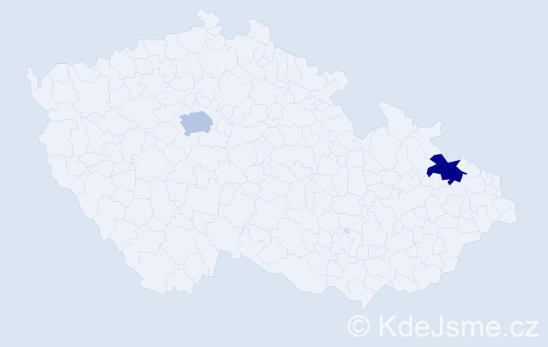 Příjmení: 'Krohe', počet výskytů 6 v celé ČR