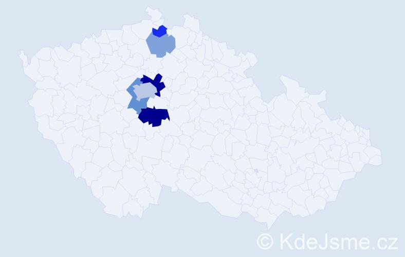 Příjmení: 'Dalibaba', počet výskytů 15 v celé ČR