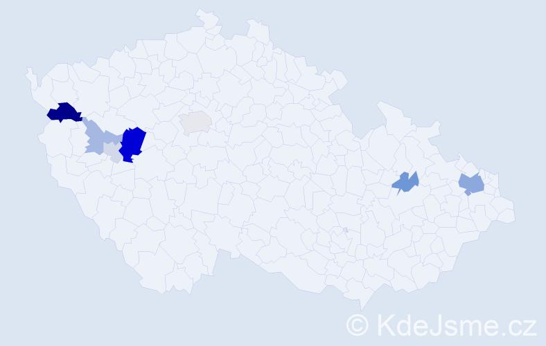 Příjmení: 'Klukavý', počet výskytů 18 v celé ČR